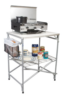 The Kampa Major Field Kitchen Stand is sold by Devon Outdoor and The Camping and Kite Centre