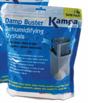 The Kampa Damp Buster Refill Pack is Sold by Devon Outdoor and The Camping and Kite Centre.