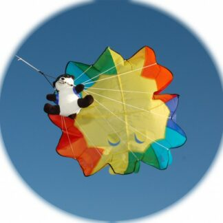 The Spirit of Air Parachute Panda Kite is Sold by Devon Outdoor and The Camping and Kite Centre.