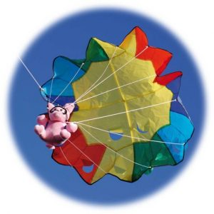 The Spirit of Air Parachute Pig Kite is Sold by Devon Outdoor and The Camping and Kite Centre.