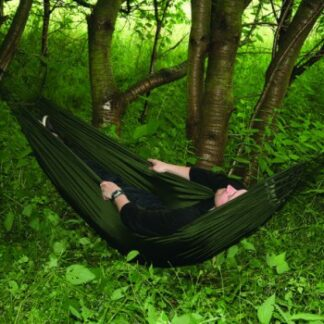 The Highlander Trekker Hammock is Sold by Devon Outdoor and The Camping and Kite Centre.