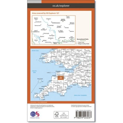 OS Map No 127 South Molton & Chulmleigh