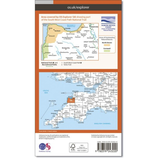 OS Map No 126 Clovelly & Hartland