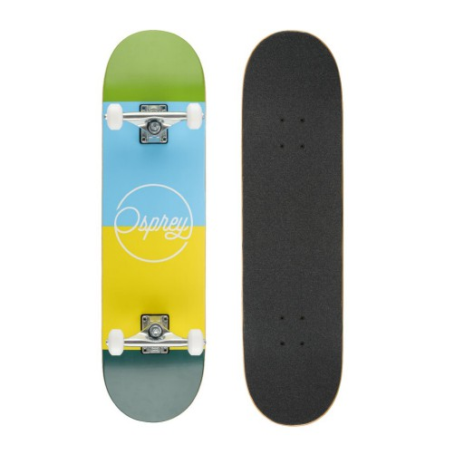 The Osprey Blocks Double Kick Skateboard is Sold by Devon Outdoor and The Camping and Kite Centre.