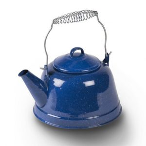 The Kampa Retro 2.5L Enamel Kettle is Sold by Devon Outdoor and The Camping and Kite Centre.