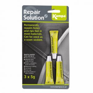 The Kampa Repair Solution is Sold by Devon Outdoor and The Camping and Kite Centre.