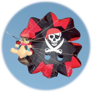 The Spirit of Air Parachute Pirate Ted Kite is Sold by Devon Outdoor and The Camping and Kite Centre.