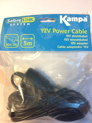 The Kampa SabreLink 12V Power Cable is Sold by Devon Outdoor and The Camping and Kite Centre.