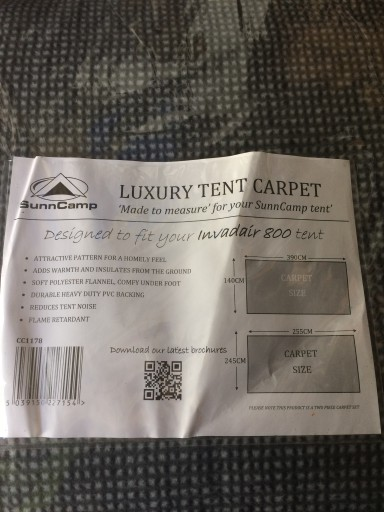 The Sunncamp Invadair 800 Carpet is Sold by Devon Outdoor and The Camping and Kite Centre.
