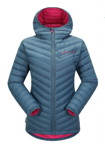 The Skogstad Ladies Kvelde Down Jacket is Sold by Devon Outdoor and The Camping and Kite Centre.