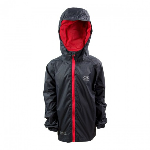 The Highlander Stow & Go Kids Waterproof Jacket is Sold by Devon Outdoor and The Camping and Kite Centre.
