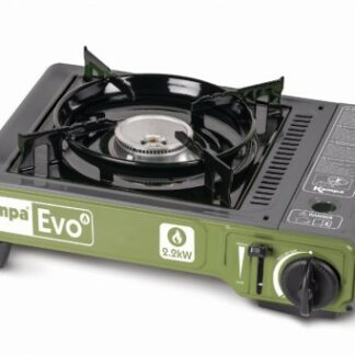 The Kampa Evo Portable Gas Stove is Sold by Devon Outdoor and The Camping and Kite Centre.