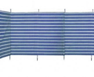 The Blue Diamond 7 Pole Windbreak is Sold by Devon Outdoor and The Camping and Kite Centre.