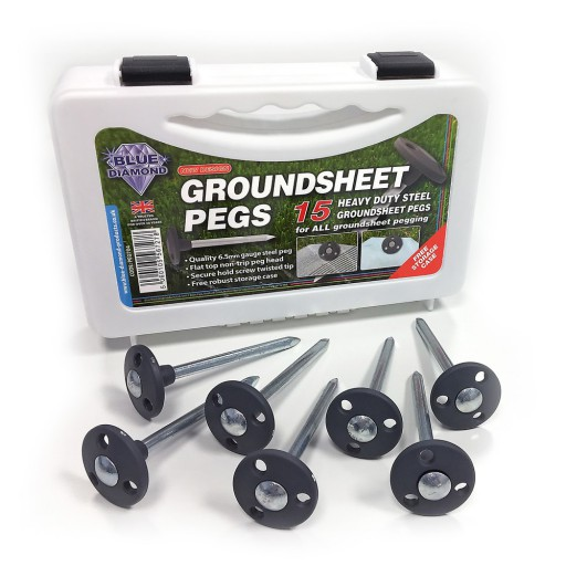 The Blue Diamond Heavy Duty Steel Groundsheet Pegs are Sold by Devon Outdoor and The Camping and Kite Centre.