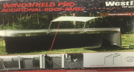 The Westfield Windshield Pro Additional Roof Panel is Sold by Devon Outdoor and The Camping and Kite Centre.