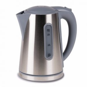 The Kampa Modern Low Wattage Electric Kettle is Sold by Devon Outdoor and The Camping and Kite Centre.