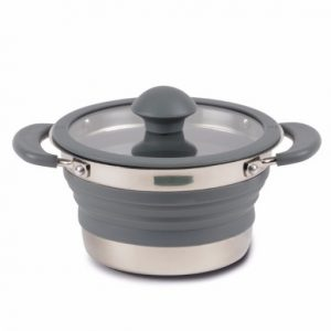 The Kampa Collapsible Saucepan is Sold by Devon Outdoor and The Camping and Kite Centre.