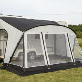 The Sunncamp Swift Deluxe 390 Poled Awning is Sold by Devon Outdoor and The Camping and Kite Centre.
