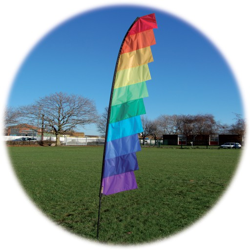 The Spirit of Air Feather Banner 4m Spectrum is Sold by Devon Outdoor and The Camping and Kite Centre.