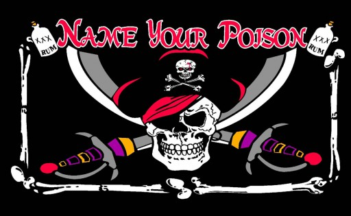 The Spirit of Air Name Your Poison Pirate Flag is Sold by Devon Outdoor and The Camping and Kite Centre.