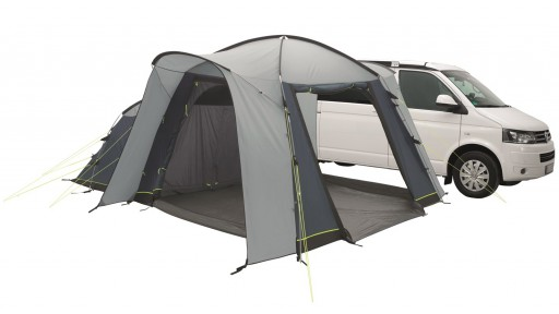 The Milestone Nap Poled Driveaway Awning is Sold by Devon Outdoor and The Camping and Kite Centre.