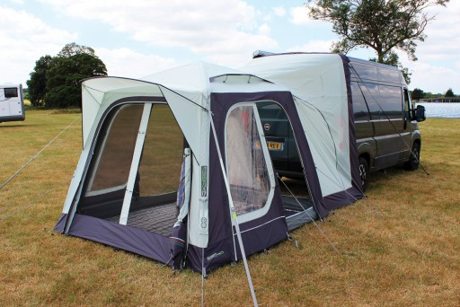 The Outdoor Revolution T1 Tail Low-Midline Driveaway Awning is Sold by Devon Outdoor and The Camping and Kite Centre.