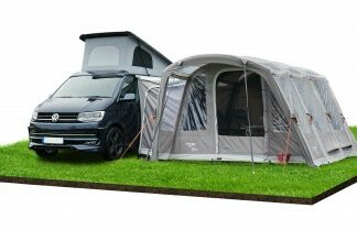The Vango Rhone Low Driveaway Awning 2019 is Sold by Devon Outdoor and The Camping and Kite Centre.