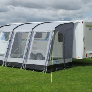 The Kampa Rally 390 Pearl Grey is Sold by Devon Outdoor and The Camping and Kite Centre.