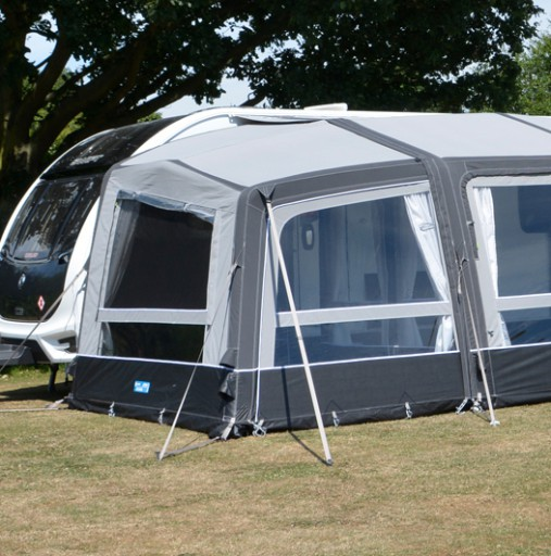 The Kampa Grande Air All Season Left Extension is Sold by Devon Outdoor and The Camping and Kite Centre.