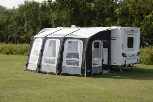 The Kampa Ace Air Pro 400 Caravan Awning is Sold by Devon Outdoor and The Camping and Kite Centre.