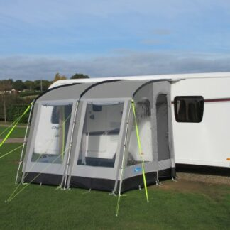 The Kampa Rally 260 Pearl Grey is Sold by Devon Outdoor and The Camping and Kite Centre.