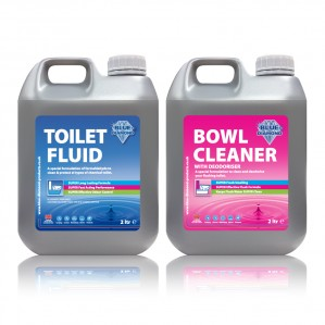 The Blue Diamond Toilet Fluid/Bowl Cleaner Twin Pack is Sold by Devon Outdoor and The Camping and Kite Centre.