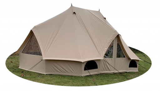 The Quest Emperor Canvas Tent is Sold by Devon Outdoor and The Camping and Kite Centre.