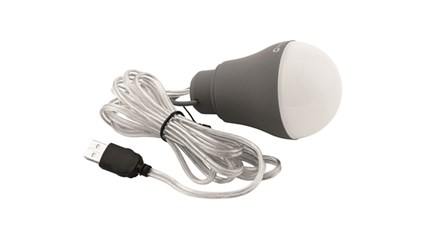 The Outwell Epsilon Bulb USB Light is Sold by Devon Outdoor and The Camping and Kite Centre.