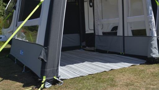 The Kampa Grande Extension Continental Carpet is Sold by Devon Outdoor and The Camping and Kite Centre.