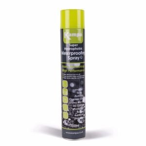 The Kampa Super Hydrophobic Waterproofing Spray is Sold by Devon Outdoor and The Camping and Kite Centre.