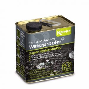 The Kampa Super Hydrophobic Waterproofing 2.5L is Sold by Devon Outdoor and The Camping and Kite Centre.