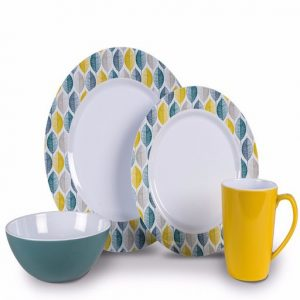 The Kampa Folio Melamine 16 Piece Set is Sold by Devon Outdoor and The Camping and Kite Centre.