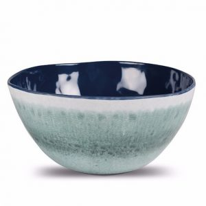 The Kampa Aegean Melamine Salad Bowl is Sold by Devon Outdoor and The Camping and Kite Centre.