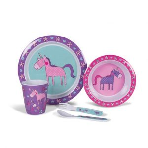 The Kampa Unicorn Childrens Melamine Set is Sold by Devon Outdoor and The Camping and Kite Centre.