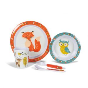 The Kampa Woodland Creatures Childrens Melamine Set is Sold by Devon Outdoor and The Camping and Kite Centre.