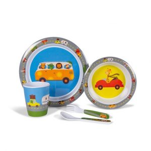 The Kampa Animal Traffic Childrens Melamine Set is Sold by Devon Outdoor and The Camping and Kite Centre.