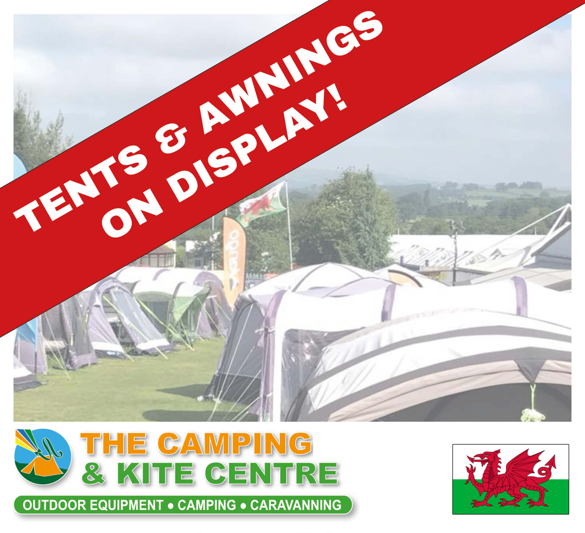 Tent and Awning Display in Raglan Abergavenny Wales