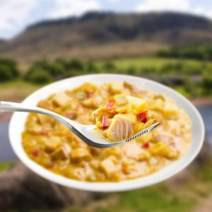 The Wayfayrer Chicken Curry with Potato & Rice is Sold by Devon Outdoor and The Camping and Kite Centre.